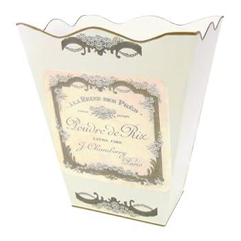 Retro Vintage Wastebasket E13 Trash Can, Trash Bin, Trash Basket ~ Shabby Chic Ivory Enamel with Vintage French Perfume Label.
