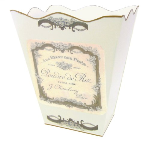 Retro Vintage Wastebasket E13 Trash Can, Trash Bin, Trash Basket ~ Shabby Chic Ivory Enamel with Vintage French Perfume Label. (Vintage Garbage Can compare prices)
