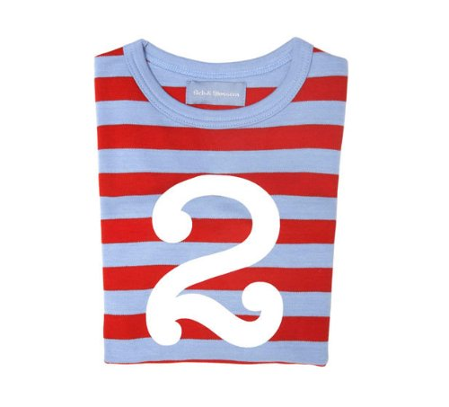 Bob and Blossom Sky Blue and Red Striped Number T-shirt 2-3y