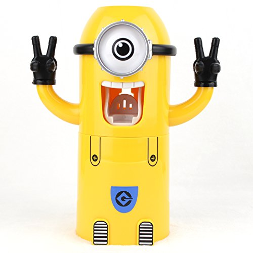 VIVISKY Wall-Mounted single Eyes Minions Toothpaste Dispenser and Toothbrush Holder Set Automatic Toothpaste Squeezer (single eye toothpaste dispenser)