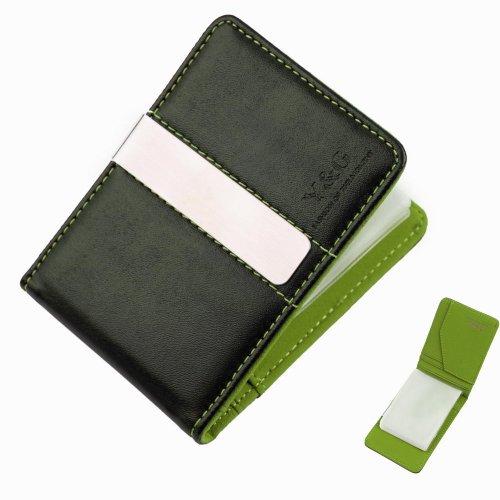 YCC1016 Green black money clip wallet card holder 15 card holder and money clip front pocket wallet By Y&G Money Clip Wallet