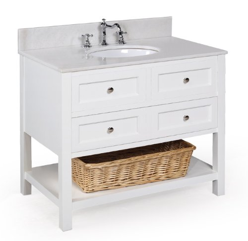 New Yorker 36-inch Bathroom Vanity (White/White): Includes a White Solid Wood Cabinet, Soft Close Drawers, a White Marble Countertop, and a Ceramic Sink