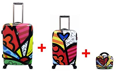 Heys USA - 3pcs. - SET 100 GBP Discount - Britto A Day, High-quality designer artist luggage set - 55 cm hand luggage, 66 cm 4-wheels Trolley and Beauty Case by Heys USA
