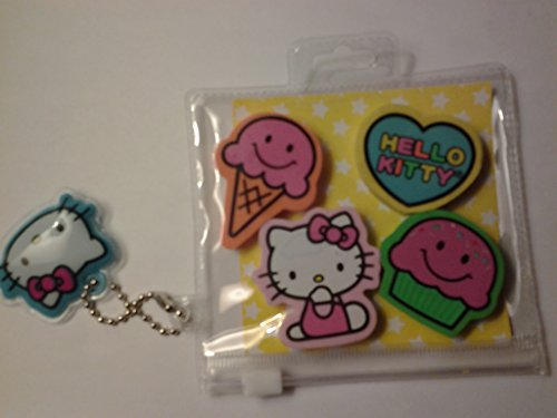 Hello Kitty 4 mini-Erasers in Carrying case Keychain - 1