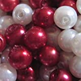 100 pieces 6mm Glass Pearl Beads - Red Mix - A0980