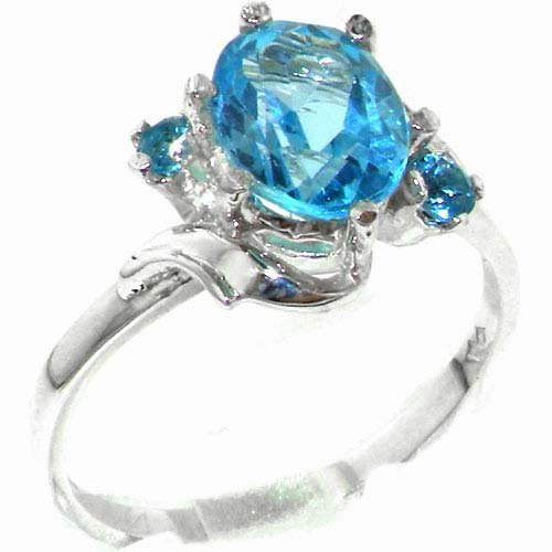 Luxury Solid Sterling Silver Large 9x7mm Natural Blue Topaz Ladies Ring - Size 11.75 - Finger Sizes 5 to 12 Available - Suitable as an Anniversary ring, Engagement ring, Eternity ring, or Promise ring
