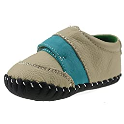 Orgrimmar Baby Boys Girls First Walkers Soft Sole Leather Baby Shoes (Size M, Blue Big Velcro)