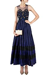 SK Clothing Blue Color Raw Silk Embroidered Semi_Stiched Dress For Women