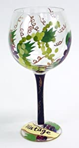 Hand Painted Vintage Wine Glass with Grapes, 18 Oz