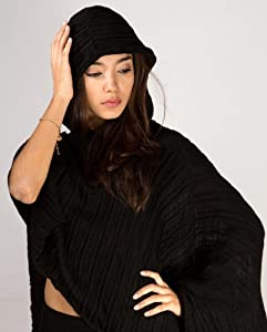 Womens Stretch Knit Hooded Sweater Poncho by KD dance, Free Flowing, Soft & Cozy Shadow Stripe w/ Contoured Front & Long Back, Sophisticated, Smart & Durable Made In NYC USA