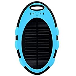 5000mAh Waterproof Solar Charger Power Bank For Mobile Phone-Blue