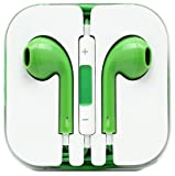 Earphones Earpods Headphones With Remote, Mic & Volume Controls For Apple iPad iPod iPhone 5,4,4s,3,3g + Clear Travel Case - Green