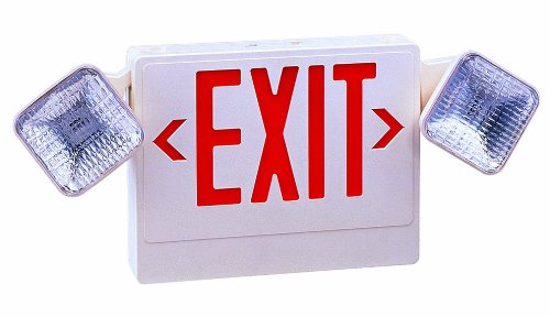 Royal Pacific RXEL18RW Exit Sign / Emergency Light Combo, White with Red Letters