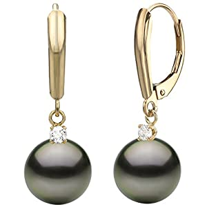 14k Yellow Gold .10tcw diamond 8-9mm Round Black Tahitian Cultured Pearl Lever-back Earrings