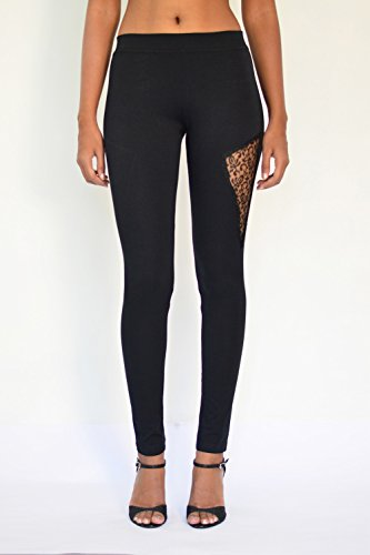 """Lacy Panel Leggings"" Cotton & Lycra – Ankle Length"