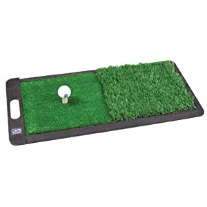 PGA ACI10003 Tour 2 in 1 Dual Turf Mat with Handle and Rubber Tees