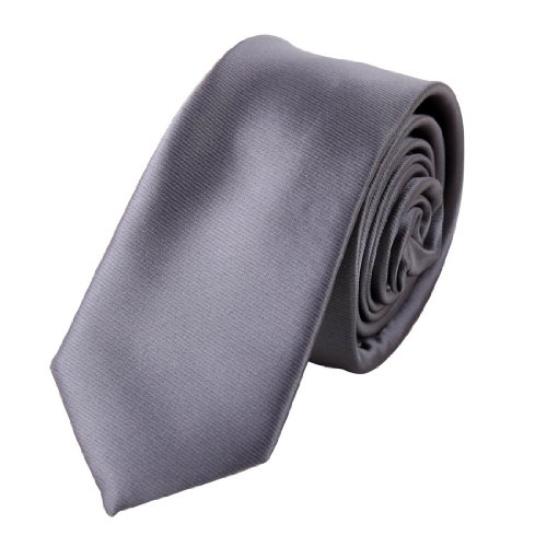 PS1010 Gray Solid Slim Tie Matching Gift Box Set Dim Gray Christmas Gift One Size Dim Gray Creative Fabric By Epoint
