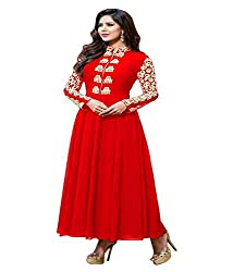 Shubh Women's Georgette Semi Stitched Dress Material (Shubh_188_Red_Free Size)
