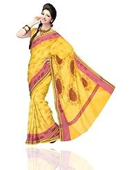 Unnati Silks Women Handloom Chanderi Sico Batik Printed Yellow Saree