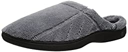 Isotoner Men\'s Signature  Microterry Hoodback Slipper, Charcoal, Large