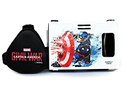 Marvel Civil War (Captain America) Shield With Blaze Plastic 6 inch Virtual Reality Viewer (VR Headset) for Google Nexus, Android Phones from AuraVR Inspired by Google Cardboard
