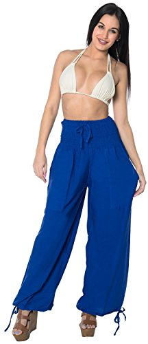 rayon-plain-drawstring-lounge-pajama-beachwear-women-pocket-yoga-pant-royal-blue