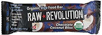 Raw Revolution Organic Live Food Bars, Chocolate Coconut Bliss, 1.8-Ounce Bars (Pack of 12)