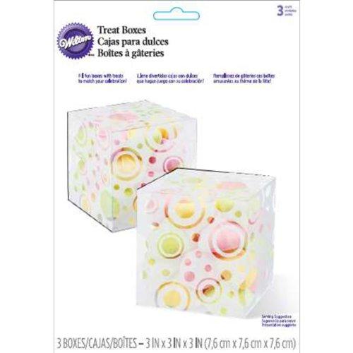 "Treat Boxes-Clear W/Circles 3/Pkg 3""X3""X3"""