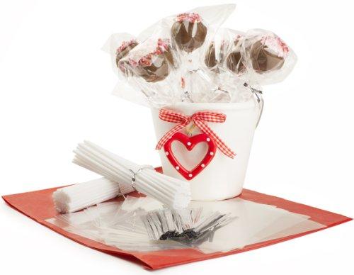 Andrew James - Kit Accessoires De Cake Pops - Complet Avec 100 Bâtonnets De Sucette + 100 Sacs En Plastique + 100 Fils De Ligature