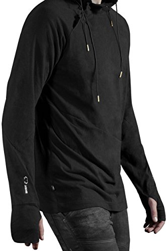 Musterbrand Deus Ex Maglietta a manica lunga Uomo Nightwatch Hood Futuristic Hooded Sweatshirt Nero L