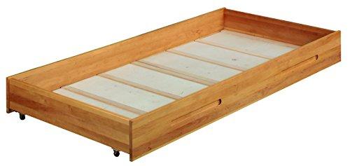 Big Lina bedbox avec roues 90x100 cm. Aulne massif. Avec fond