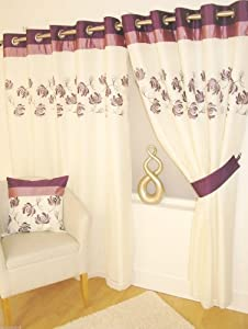 "Stunning Purple Plum Cream Lined Ring Top Eyelet Voile Curtains W66"" X L90"" - 168 X 229 Cm (each Panel) by PCJ SUPPLIES"