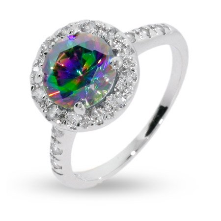 Dazzling Round Cut Mystic Fire Cz Sterling Silver Ring Size 9 (Sizes 6 7 8 9 Available)