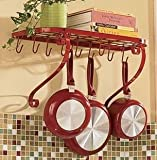 VDOMUS Kitchen Pot Pan Rack Shelf Wall Mounted Utensil Holder Hanger Bar with 10 Hooks, 24
