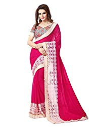 Onlinefayda Women's Georgette Saree with Blouse Piece (Pink)