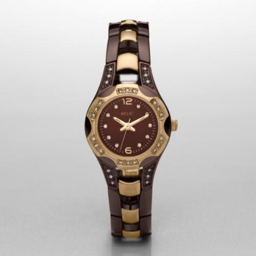 RELIC Brown and Gold IP Glitz Watch