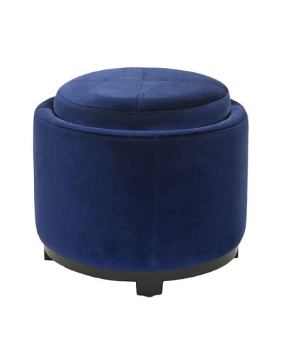 Safavieh Chelsea Round Tray Ottoman, Royal Blue