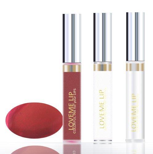 Loveme Lip Colorful Ink For Your Lips Kit (Color, Moisturizing Gloss, Remover) - Elegant Garnet