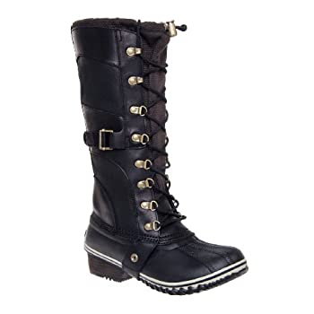 Take on a chilly world in the SOREL Conquest CarlyTM boot, delivering sassy style paired with weather-ready construction. This women's tall-shaft winter pull-on boot has a waterproof full grain leather and nylon upper, its front lace backed up by a g...