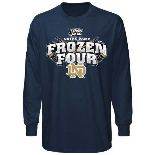 Notre Dame Fighting Irish 2011 NCAA Men's Ice Hockey Frozen Four Crossed Sticks Long Sleeve T-shirt - Navy Blue (Small)