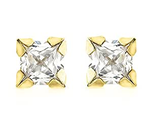 Carissima Gold 9 ct Yellow Gold 3 mm Square Cubic Zirconia Stud Earrings