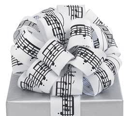 """Black Musical Notes White Ribbon 20 yards 1.5"""" wired Bow Craft Decor Music Gift"""