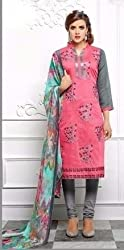 V-Kart Women's Cotton Unstitched Dress Material (Vkart_356_Pink_Free Size)