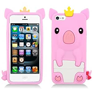 Aimo IPH5SKPIG004 Unique Piggy Skin Protective Case for iPhone 5 - 1 Pack - Retail Packaging - Light Pink/White...