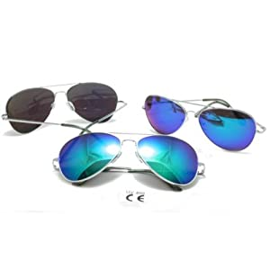 G&G Chrome Metal Silver Mirrored Aviator Sunglasses 3 Pair Spring Hinges (3 Emerald Green Mirror)