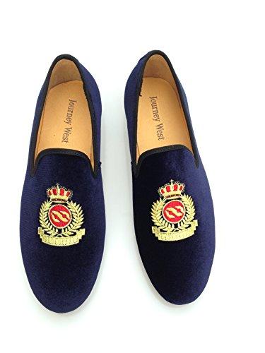 Vintage da uomo in velluto ricamato scarpe Noble passante-Smoking-Pantofole a mocassino, colore: nero/rosso/blu, Blu (blu), 41.5
