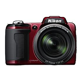 The Electronics World | Nikon Coolpix L110 12.1MP Digital Camera with 15x Wide Angle Optical Vibration Reduction (VR) Zoom and 3.0″ LCD (Red)