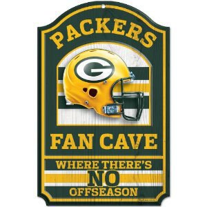 NFL Green Bay Packers 11-by-17 inch Fan Cave No Offseason Wood Sign