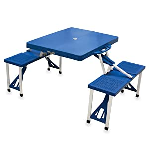 Picnic Time 811-00-139-000-0 Portable Folding Picnic Table with Seating for 4, Blue