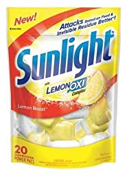 Dishwashing Detergent, 20 Packs, Lemon, PK6